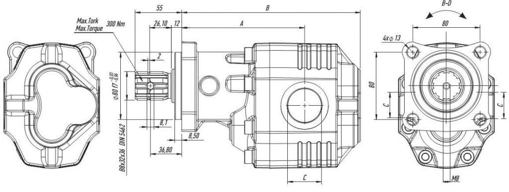 Чертеж Kazel насосы шестеренные в чугунном корпусе 4 отверстия ISO группа 30